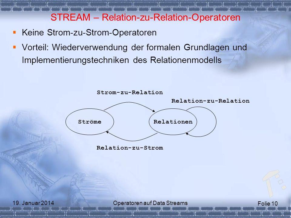 Folie 10 19. Januar 2014Operatoren auf Data Streams STREAM – Relation-zu-Relation-Operatoren Keine Strom-zu-Strom-Operatoren Vorteil: Wiederverwendung
