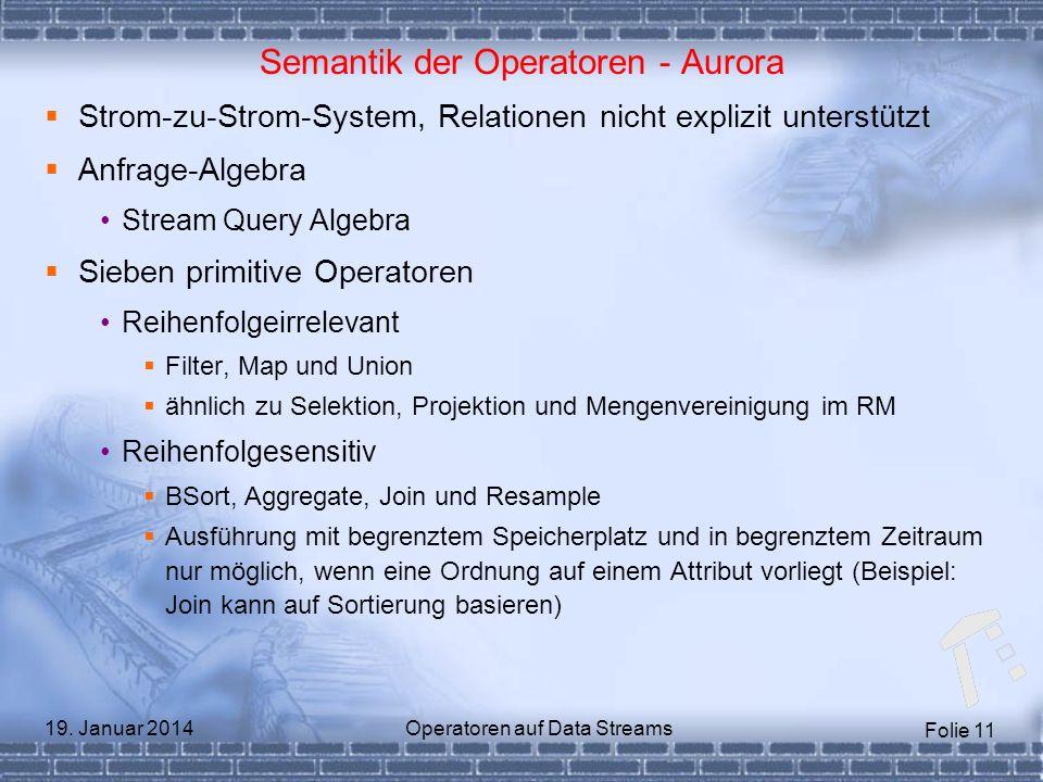 Folie 11 19. Januar 2014Operatoren auf Data Streams Semantik der Operatoren - Aurora Strom-zu-Strom-System, Relationen nicht explizit unterstützt Anfr