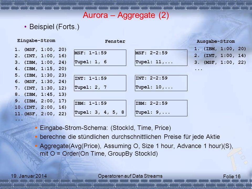 Folie 16 19. Januar 2014Operatoren auf Data Streams Aurora – Aggregate (2) Beispiel (Forts.) Eingabe-Strom-Schema: (StockId, Time, Price) berechne die