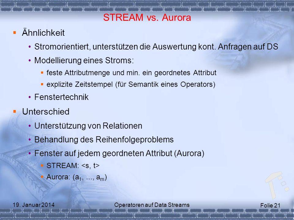 Folie 21 19. Januar 2014Operatoren auf Data Streams STREAM vs. Aurora Ähnlichkeit Stromorientiert, unterstützen die Auswertung kont. Anfragen auf DS M