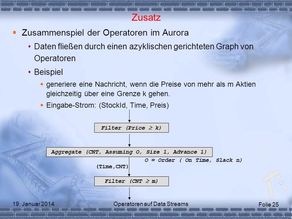 Folie 25 19. Januar 2014Operatoren auf Data Streams Zusatz Zusammenspiel der Operatoren im Aurora Daten fließen durch einen azyklischen gerichteten Gr