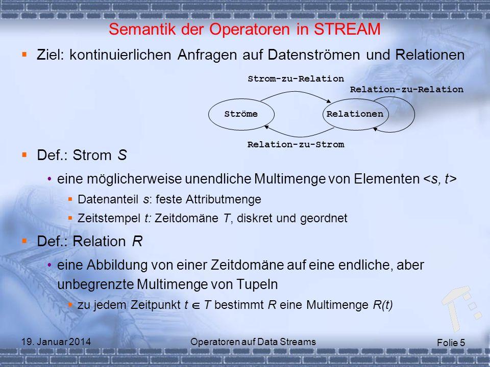 Folie 5 19. Januar 2014Operatoren auf Data Streams Semantik der Operatoren in STREAM Ziel: kontinuierlichen Anfragen auf Datenströmen und Relationen D