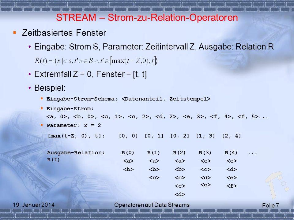 Folie 7 19. Januar 2014Operatoren auf Data Streams STREAM – Strom-zu-Relation-Operatoren Zeitbasiertes Fenster Eingabe: Strom S, Parameter: Zeitinterv