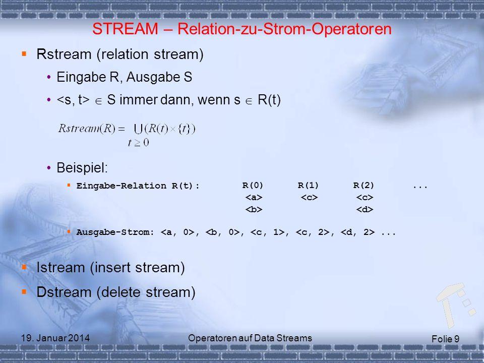 Folie 9 19. Januar 2014Operatoren auf Data Streams STREAM – Relation-zu-Strom-Operatoren Rstream (relation stream) Eingabe R, Ausgabe S S immer dann,