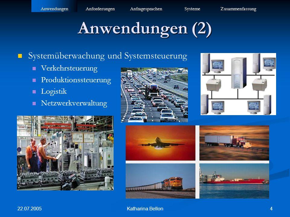 22.07.2005 4Katharina Bellon Anwendungen (2) Systemüberwachung und Systemsteuerung Verkehrsteuerung Produktionssteuerung Logistik NetzwerkverwaltungAn