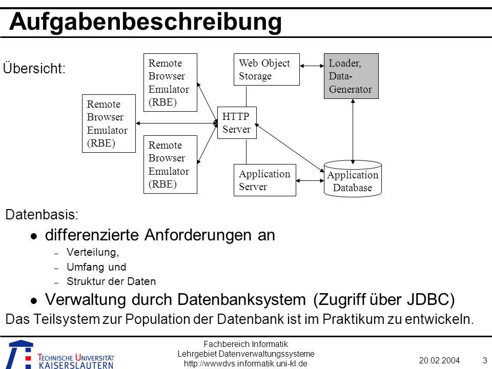 Fachbereich Informatik Lehrgebiet Datenverwaltungssysteme http://wwwdvs.informatik.uni-kl.de 20.02.20044 Komponenten DB/JDBC- Komponente Generator- komponente GUI / Visualisierung Komponenten definieren Packages!