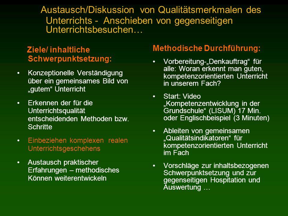 Austausch/Diskussion von Qualitätsmerkmalen des Unterrichts - Anschieben von gegenseitigen Unterrichtsbesuchen… Ziele/ inhaltliche Schwerpunktsetzung: