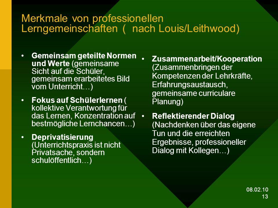 08.02.10 13 Merkmale von professionellen Lerngemeinschaften ( nach Louis/Leithwood) Gemeinsam geteilte Normen und Werte (gemeinsame Sicht auf die Schü