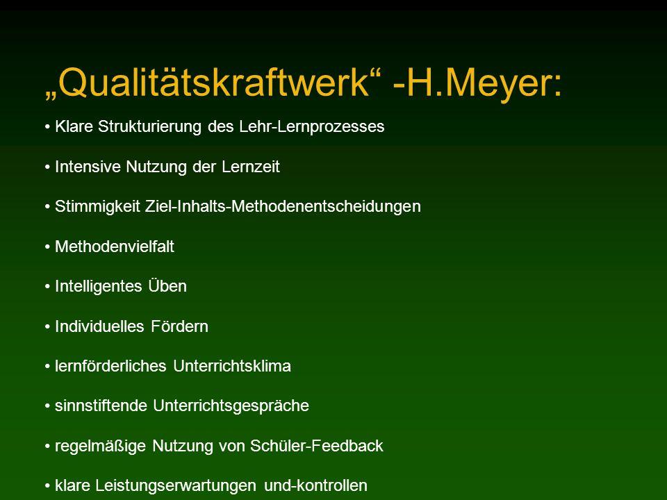 Qualitätskraftwerk -H.Meyer: Klare Strukturierung des Lehr-Lernprozesses Intensive Nutzung der Lernzeit Stimmigkeit Ziel-Inhalts-Methodenentscheidunge