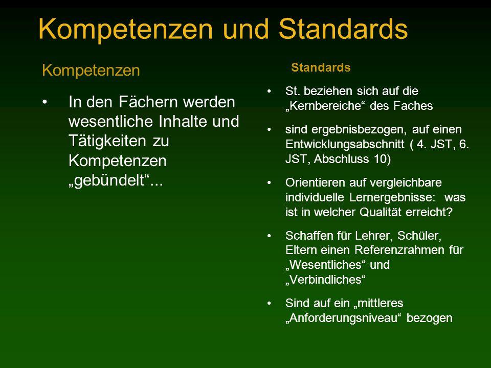 Kompetenzen und Standards Kompetenzen In den Fächern werden wesentliche Inhalte und Tätigkeiten zu Kompetenzen gebündelt...