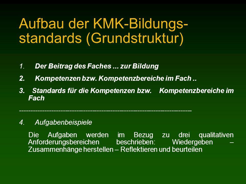 Aufbau der KMK-Bildungs- standards (Grundstruktur) 1.