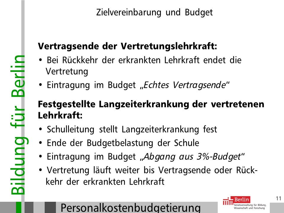 Bildung für Berlin Personalkostenbudgetierung 10 Zielvereinbarung und Budget Schulverbünde: Informeller Schulverbund ohne Kooperations- vereinbarung:
