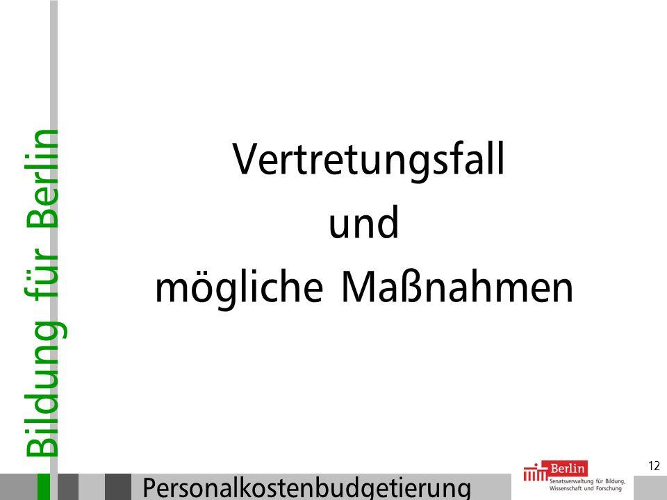 Bildung für Berlin Personalkostenbudgetierung 11 Zielvereinbarung und Budget Vertragsende der Vertretungslehrkraft: Bei Rückkehr der erkrankten Lehrkr