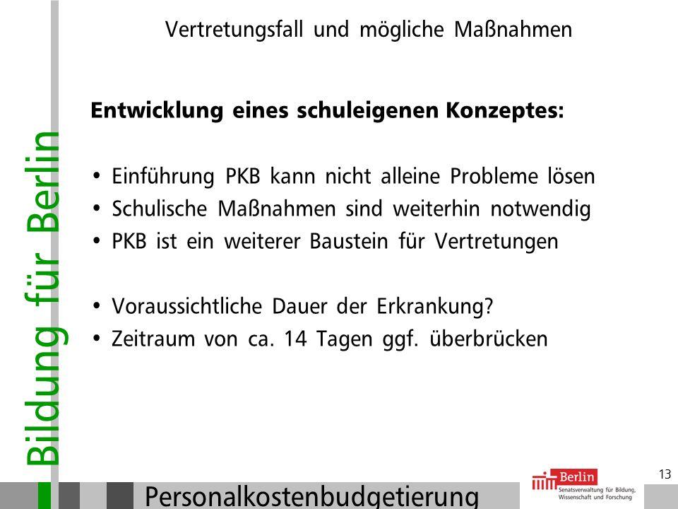 Bildung für Berlin Personalkostenbudgetierung 12 Vertretungsfall und mögliche Maßnahmen