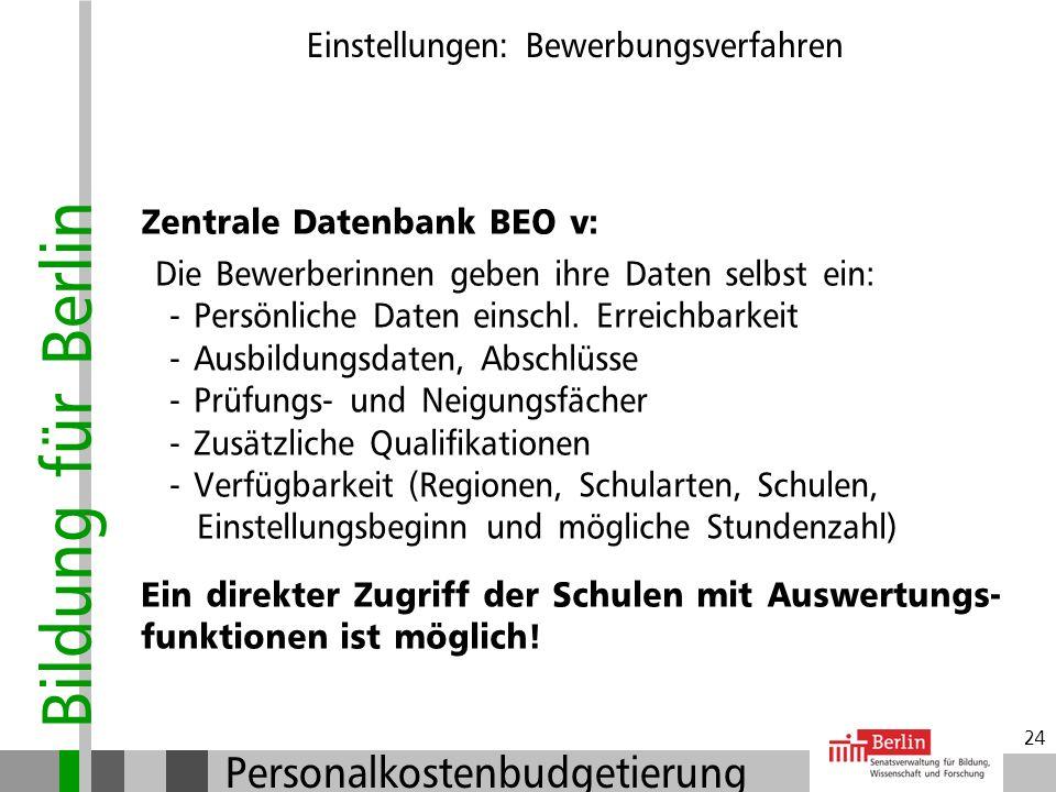 Bildung für Berlin Personalkostenbudgetierung 23 Einstellungen: Bewerbungsverfahren Initiativ-Bewerbungen: Eingangsbestätigung Anlegen einer Bewerbung