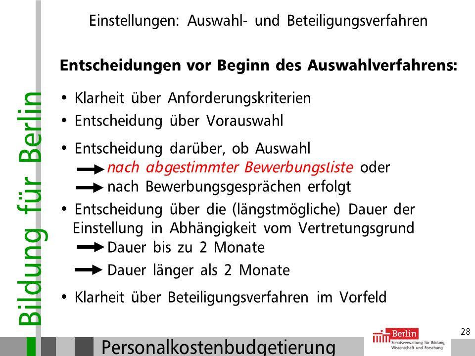 Bildung für Berlin Personalkostenbudgetierung 27 Anlegen einer Bewerbungsliste im Vorfeld: Derzeit nicht möglich (keine DV vorhanden): Bewerbungsliste