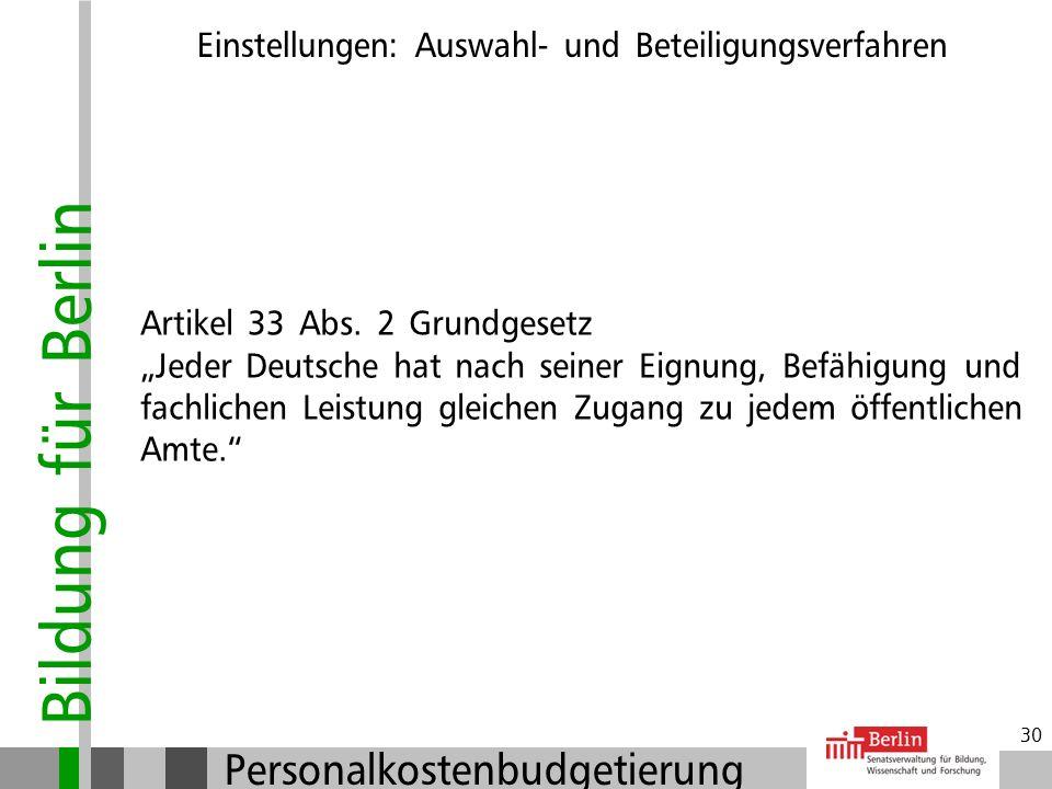 Bildung für Berlin Personalkostenbudgetierung 29 Bewerbungsgespräch und Auswahlentscheidung Einstellungen: Auswahl- und Beteiligungsverfahren