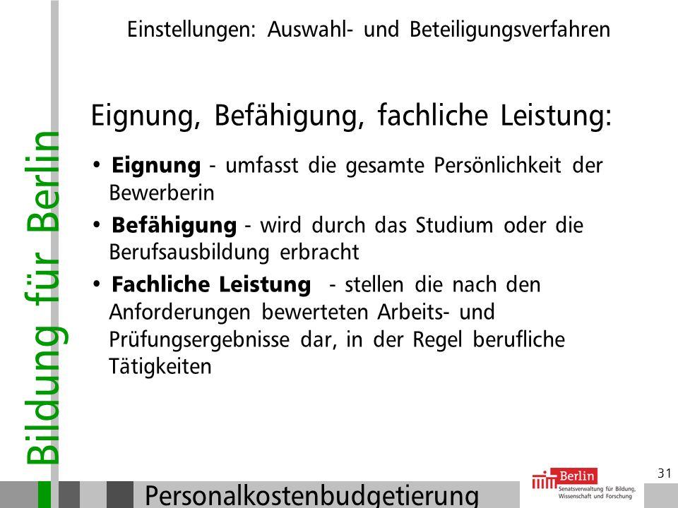 Bildung für Berlin Personalkostenbudgetierung 30 Einstellungen: Auswahl- und Beteiligungsverfahren Artikel 33 Abs. 2 Grundgesetz Jeder Deutsche hat na