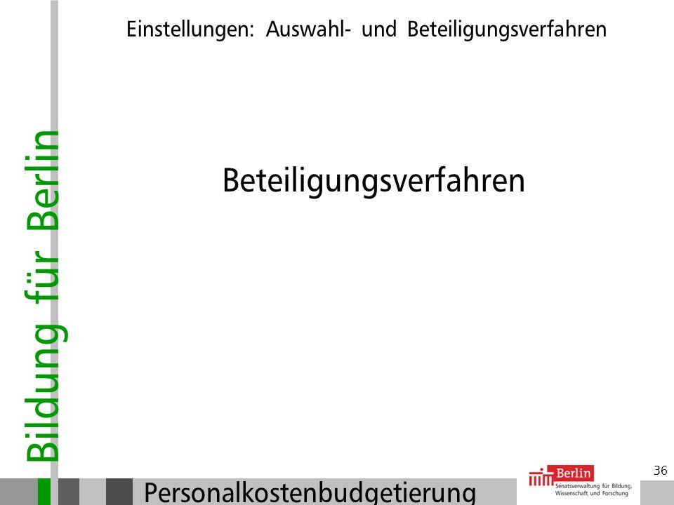 Bildung für Berlin Personalkostenbudgetierung 35 Auswahlentscheidung: Vorrang von Laufbahnbewerberinnen Nachvollziehbare Entscheidung Auswahlvermerk f