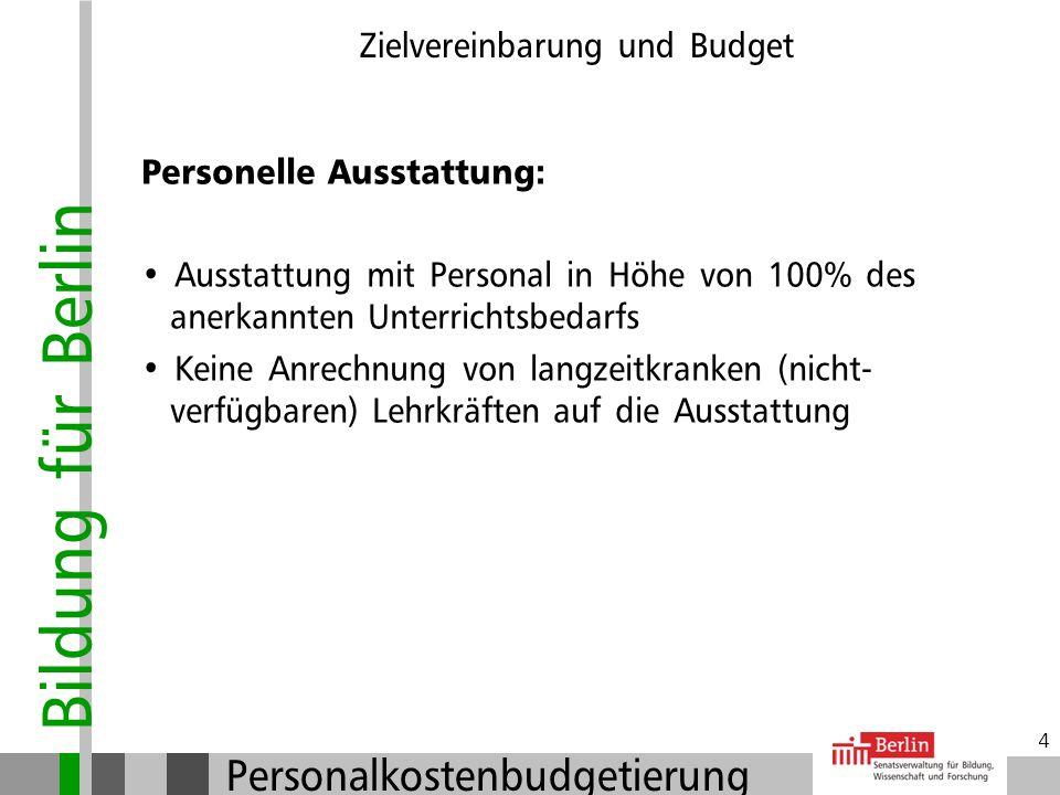 Bildung für Berlin Personalkostenbudgetierung 3 Zielvereinbarung und Budget Zielvereinbarung (ZV): Abschluss der ZV mit zuständiger Schulaufsicht Absc