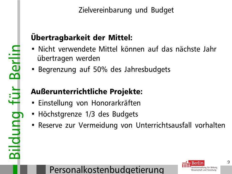 Bildung für Berlin Personalkostenbudgetierung 8 Zielvereinbarung und Budget