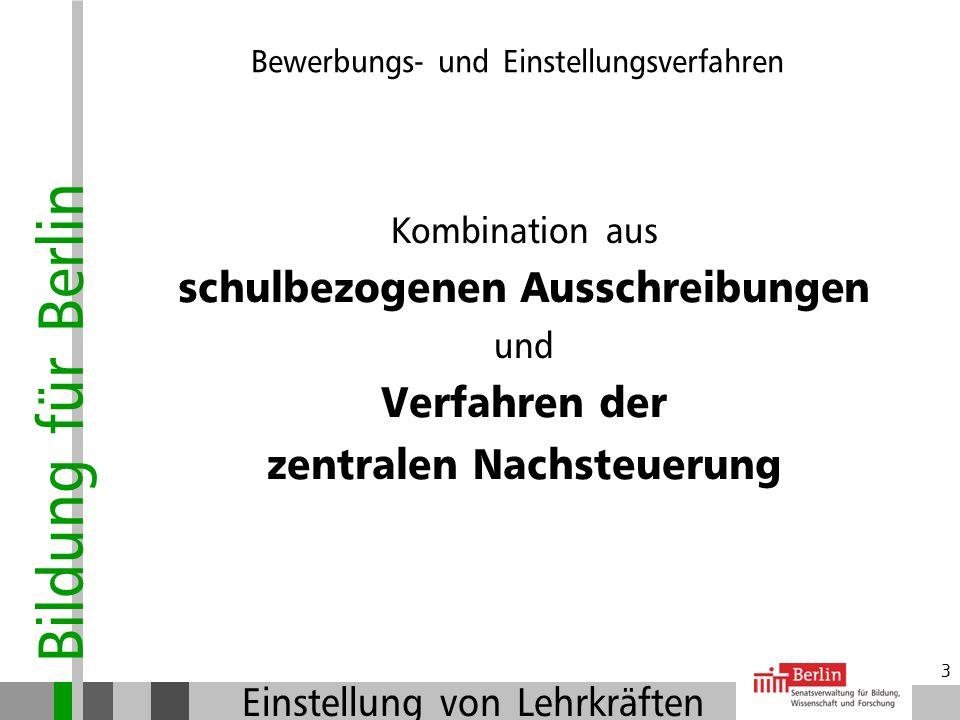 Bildung für Berlin Einstellung von Lehrkräften 33 Der Arbeitsvertrag: Zuständige Personalstelle schließt Arbeitsvertrag (SE P in der Flottenstrasse) Alle weiteren Maßnahmen (gesundheitliche Prüfung, Anweisung des Gehaltes,.......