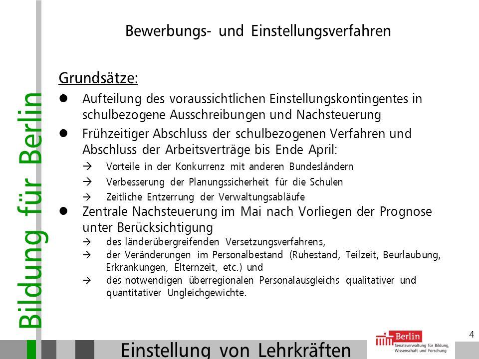 Bildung für Berlin Einstellung von Lehrkräften 3 Kombination aus schulbezogenen Ausschreibungen und Verfahren der zentralen Nachsteuerung Bewerbungs-