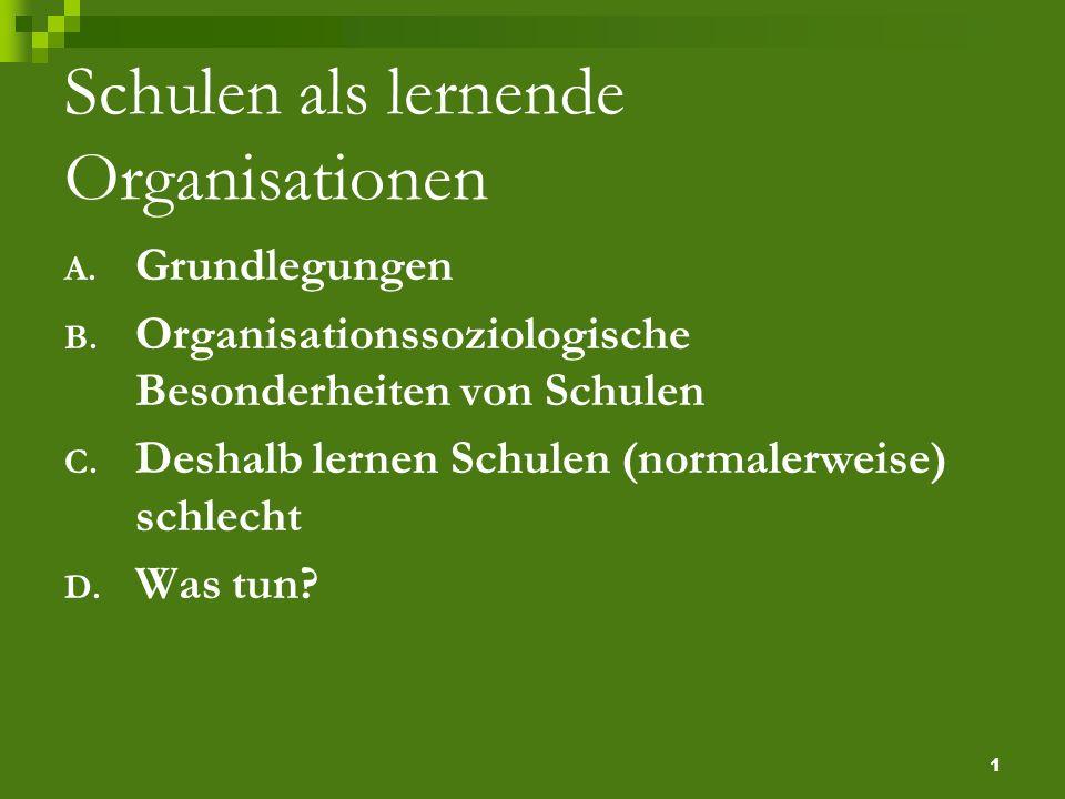 1 Schulen als lernende Organisationen A. Grundlegungen B.