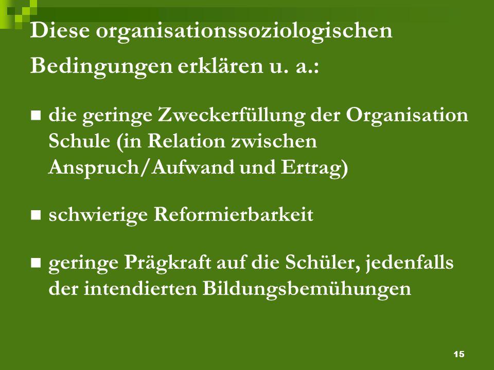 15 Diese organisationssoziologischen Bedingungen erklären u.