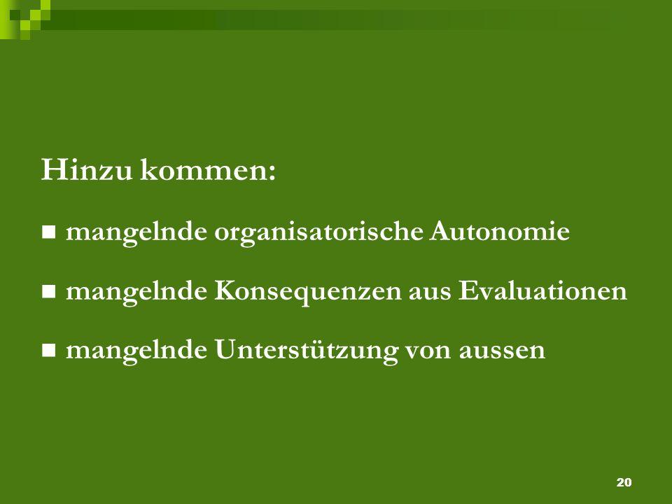 20 Hinzu kommen: mangelnde organisatorische Autonomie mangelnde Konsequenzen aus Evaluationen mangelnde Unterstützung von aussen
