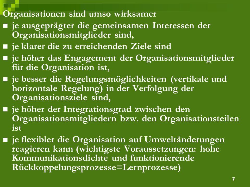 7 Organisationen sind umso wirksamer je ausgeprägter die gemeinsamen Interessen der Organisationsmitglieder sind, je klarer die zu erreichenden Ziele sind je höher das Engagement der Organisationsmitglieder für die Organisation ist, je besser die Regelungsmöglichkeiten (vertikale und horizontale Regelung) in der Verfolgung der Organisationsziele sind, je höher der Integrationsgrad zwischen den Organisationsmitgliedern bzw.