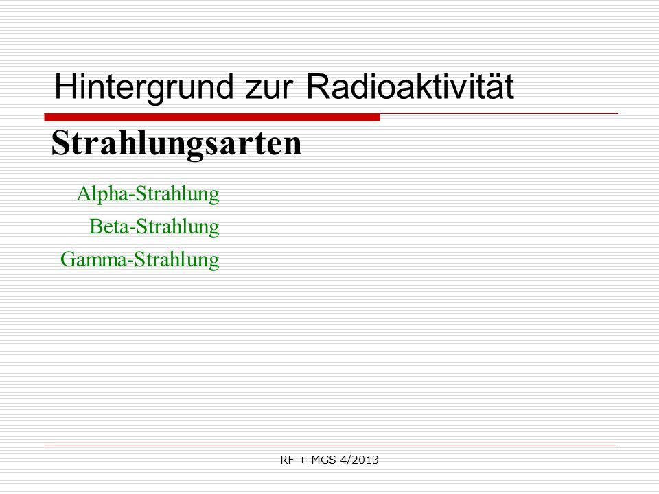 RF + MGS 4/2013 Hintergrund zur Radioaktivität Strahlungsarten Alpha-Strahlung Beta-Strahlung Gamma-Strahlung