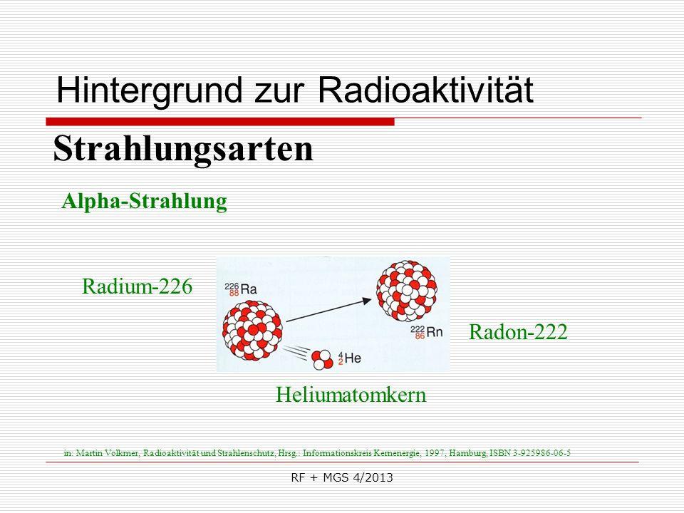 RF + MGS 4/2013 Hintergrund zur Radioaktivität Strahlungsarten Alpha-Strahlung Heliumatomkern Radium-226 Radon-222 in: Martin Volkmer, Radioaktivität