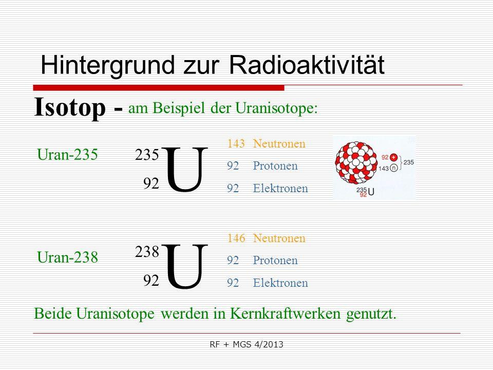 RF + MGS 4/2013 Hintergrund zur Radioaktivität U 235 92 Isotop - Uran-235 146Neutronen 92Protonen 92Elektronen Uran-238 U 238 92 143Neutronen 92Proton
