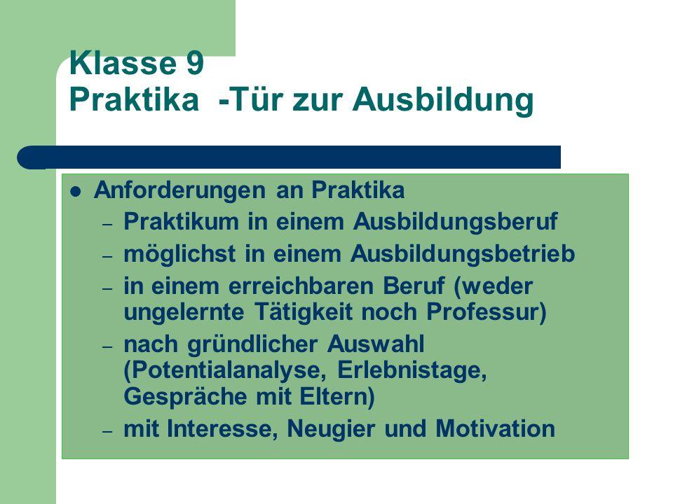 Klasse 9 – Der Weg zur Bewerbung Vor- und Nachbereitung der Praktika (Termine: Herbst 2014, Frühjahr 2015) Kontakt zu Beratungsstellen Entscheidung fü