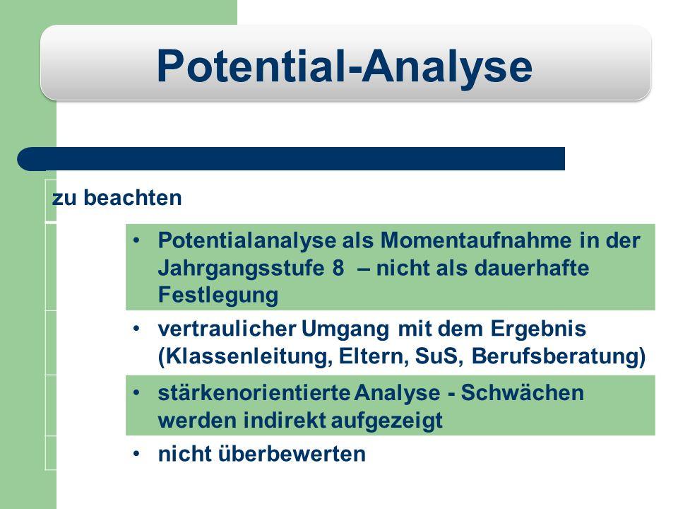 Potential-Analyse AblaufKennenlernen von drei Gewerken in Vierer-Gruppen: (kaufmännische Berufe, IT- und Medien, Elektro- bzw. Elektronik- Berufe, Met