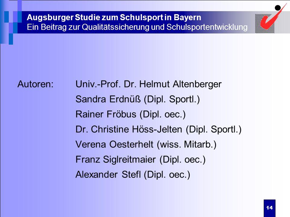 14 Augsburger Studie zum Schulsport in Bayern Ein Beitrag zur Qualitätssicherung und Schulsportentwicklung Autoren:Univ.-Prof. Dr. Helmut Altenberger