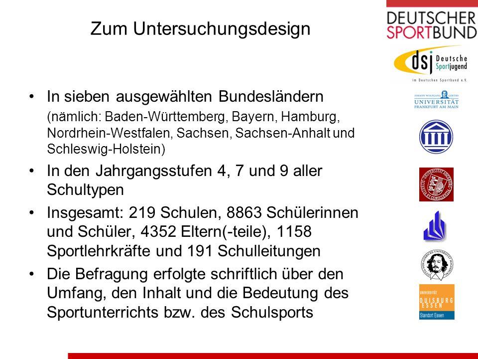 Zum Untersuchungsdesign In sieben ausgewählten Bundesländern (nämlich: Baden-Württemberg, Bayern, Hamburg, Nordrhein-Westfalen, Sachsen, Sachsen-Anhal