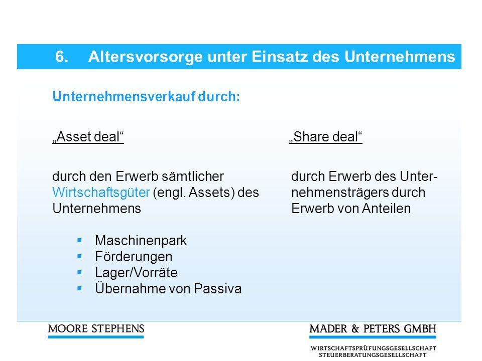 Unternehmensverkauf durch: Asset deal Share deal durch den Erwerb sämtlicher Wirtschaftsgüter (engl. Assets) des Unternehmens Maschinenpark Förderunge