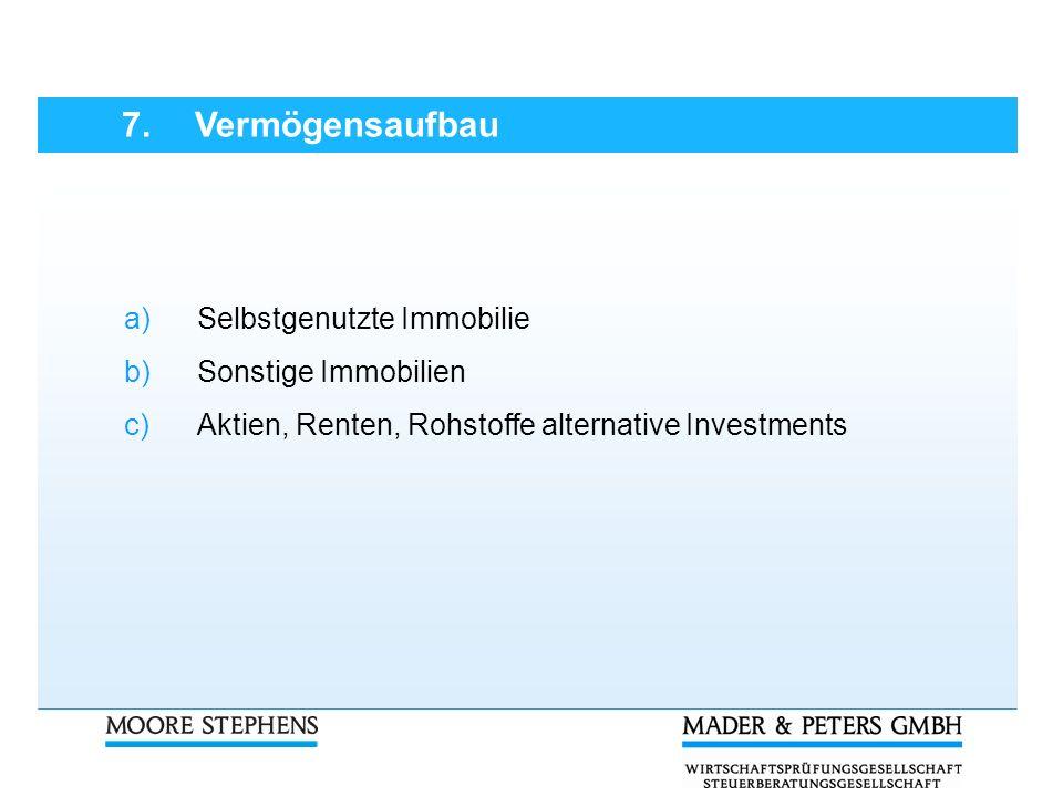 7. Vermögensaufbau a)Selbstgenutzte Immobilie b)Sonstige Immobilien c)Aktien, Renten, Rohstoffe alternative Investments