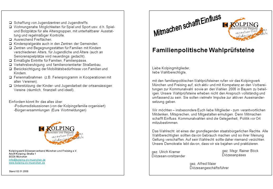 Familienpolitische Wahlprüfsteine Kolpingwerk Diözesanverband München und Freising e.V.