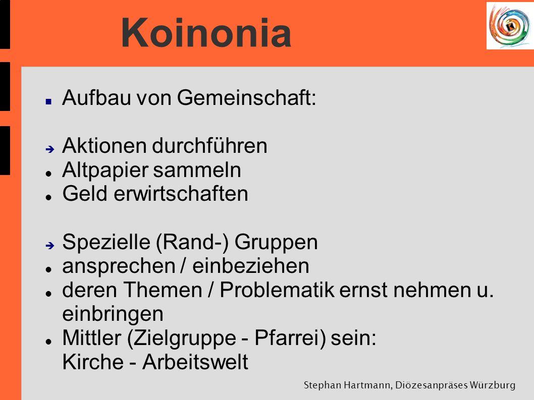 Stephan Hartmann, Diözesanpräses Würzburg Koinonia Aufbau von Gemeinschaft: Aktionen durchführen Altpapier sammeln Geld erwirtschaften Spezielle (Rand