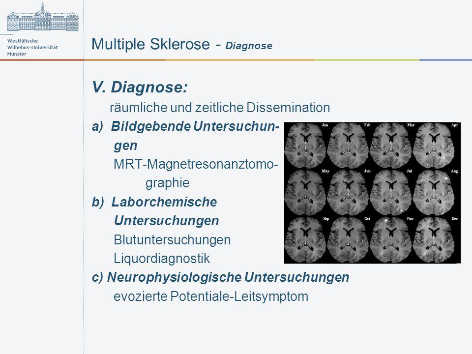 Multiple Sklerose - Diagnose V. Diagnose: räumliche und zeitliche Dissemination a) Bildgebende Untersuchun- gen MRT-Magnetresonanztomo- graphie b) Lab