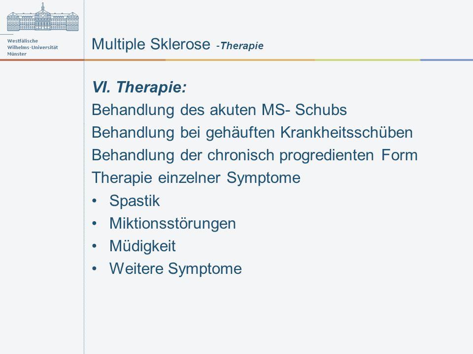 Multiple Sklerose -Therapie VI. Therapie: Behandlung des akuten MS- Schubs Behandlung bei gehäuften Krankheitsschüben Behandlung der chronisch progred