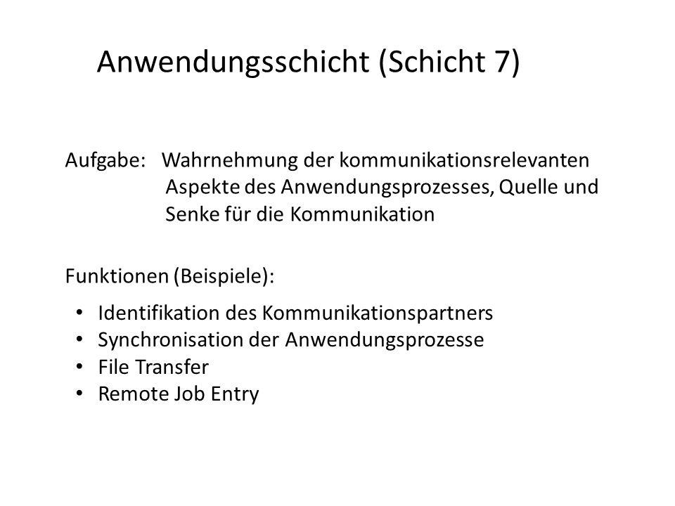 Anwendungsschicht (Schicht 7) Aufgabe: Wahrnehmung der kommunikationsrelevanten Aspekte des Anwendungsprozesses, Quelle und Senke für die Kommunikatio