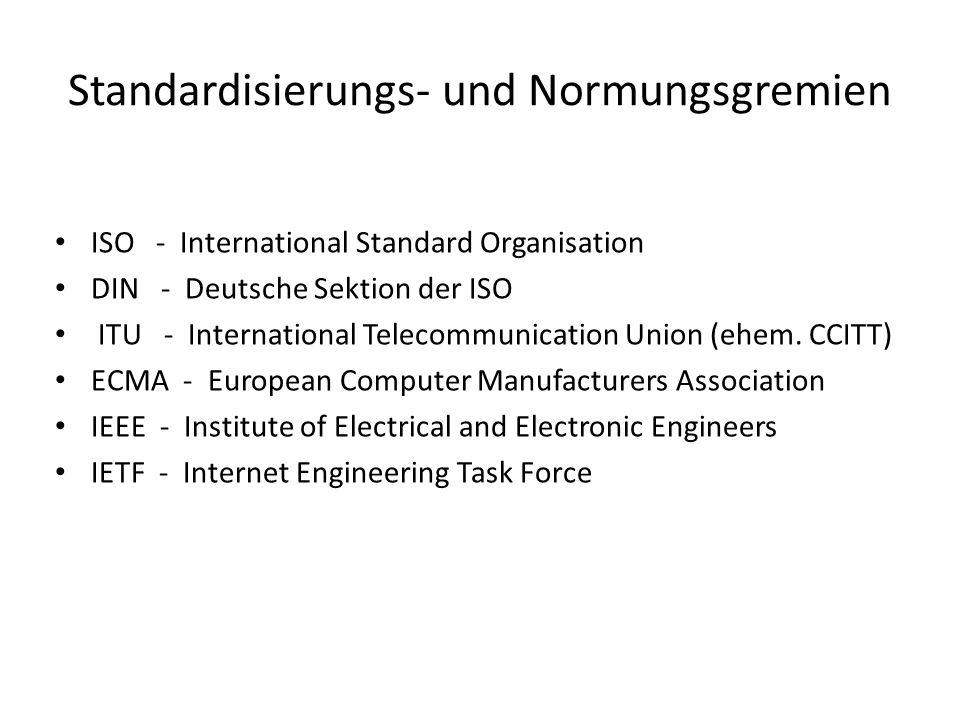 Standardisierungs- und Normungsgremien ISO - International Standard Organisation DIN - Deutsche Sektion der ISO ITU - International Telecommunication