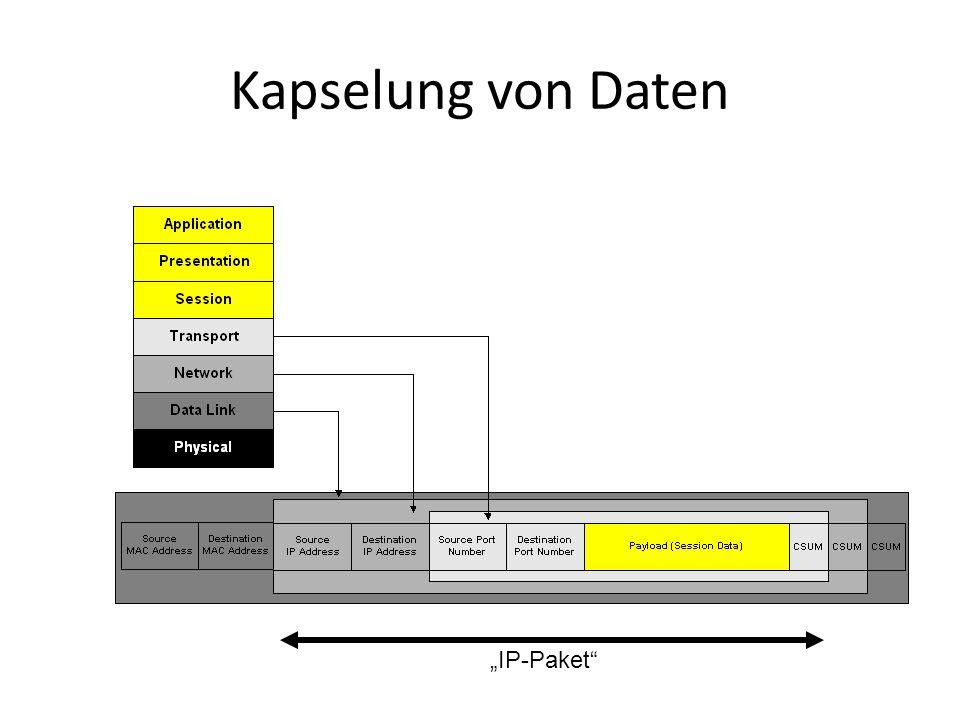 Kapselung von Daten IP-Paket