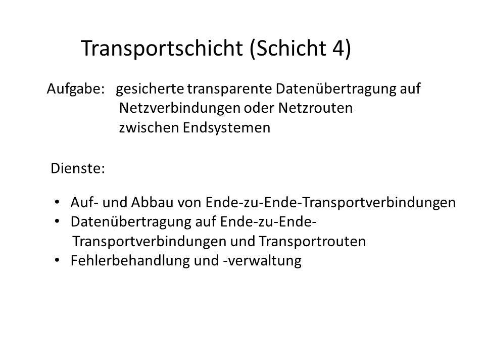 Transportschicht (Schicht 4) Aufgabe: gesicherte transparente Datenübertragung auf Netzverbindungen oder Netzrouten zwischen Endsystemen Dienste: Auf-