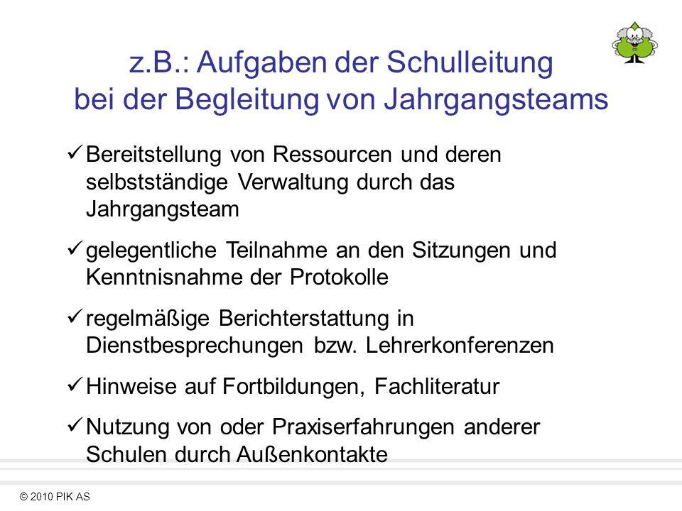 © 2010 PIK AS z.B.: Aufgaben der Schulleitung bei der Begleitung von Jahrgangsteams Bereitstellung von Ressourcen und deren selbstständige Verwaltung