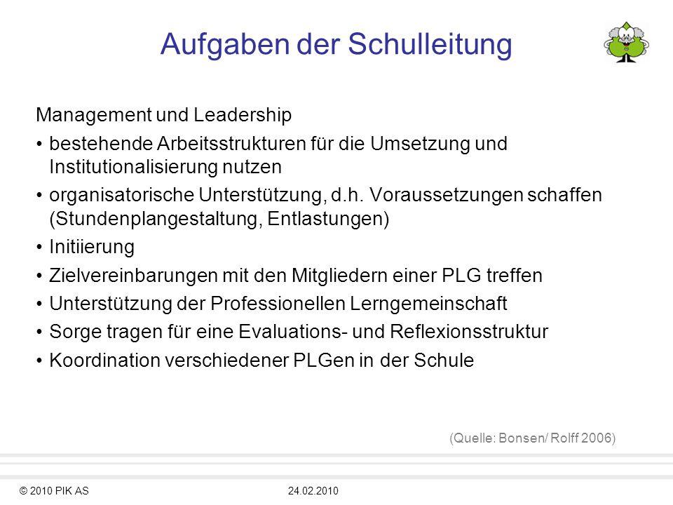 © 2010 PIK AS24.02.2010 Aufgaben der Schulleitung Management und Leadership bestehende Arbeitsstrukturen für die Umsetzung und Institutionalisierung n